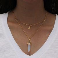 Necklace Healing Point Moon Pendant Double Layer Necklaces Turquoise Crystal Quartz Stone Bullet