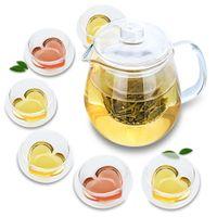 7in1 Conjunto de chá -750ml Potenciômetro de chá de vidro resistente ao calor com tampa infusor + xícaras 6x30ml