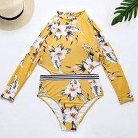 One-peça ternos de manga comprida um pedaço de banho de roupa de banho impressão floral maiô zíper guarda 2021 amarelo surf rash rashguard x4y7 mulheres oco bac v9x1