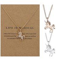 Collares unicornio con tarjeta plateado oro cadena de oro diseño de moda caballo colgante collar collar afortunado clavícula fiesta joyería alegre cumpleaños regalos de Navidad