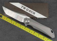 Novas facas Twosun M390 Titanium Flipper Rápido Faca de Dobramento Aberto TS196 Sabertooth