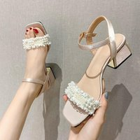 Sandals Fairy Style Word Belt Women Summer Pearl Women's Shoes Korean Version Of Square Toe Thick High-heeled