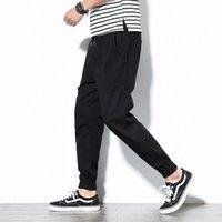 Pantalon de cargaison Spring Hommes Coton Confortable Pantalon Crayon Solide Cordon de cordon Noir Black Kaki Casual Joggers Hommes Binhiiro 20191