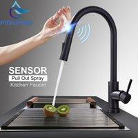 Fâmeras FMHJFISD Torneiras de Cozinha Preto Toque Smart Touch Indutivo Torneira Misturador Torneira Torneira Único Modos de Água Dupla Torneira