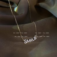 Pendant Necklaces Light Luxury Titanium Steel Letter SMILE Necklace Female 2021 Gold Plated Clavicle Chain Choker For Women