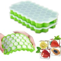 Honeycomb Ice Cube Trays with Removable Lids Silica Gel Ices Coolers Cubes Mold BPA Free Homemade Silicone Model DIY Iced FWF8869