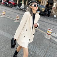 Women's Suits & Blazers 2021 Autumn Winter Fashion England Style Retro Comfortable Turn-down Collar Double Breasted Casual