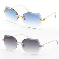 Toptan Satış Kadınlar veya Adam Metal Çerçevesiz Oyma Lens Erkekler Güneş Gözlüğü Tasarımcı Pilot Adumbral 18 K Altın Pırlanta Kesim UV400 Gözlük Unisex Gözlük