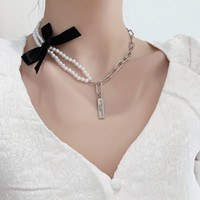 VSnow French Black Bowknot Double Layer Pearl Pendant Necklace For Women Fashion Beaded Chunky Chain Geometric Jewelry Chokers