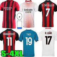 20 21 22 AC Home Soccer Milan Balr Theo Jerseys 2021 2022 أزرق Ibrahimovic Tonali Mandzukic Kessie Men Football Shirts S-4XL