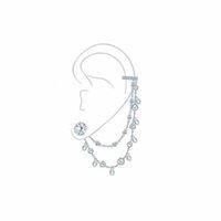 2021 الأزياء 925 فضة waterdrop سلسلة مزدوجة الأذن الكفة العظام مع مسمار الكريستال كليب القرط 1 قطعة للنساء غرامة المجوهرات