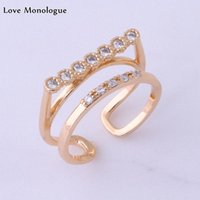 Wedding Rings Love Monologue Exquisite Unique White Cubic Zirconia Gold Color Ring Jewelry For Womens Christmas Gift X0006