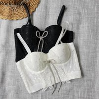 Women's Tanks & Camis Diamond Bow Moon Chest Padded Push Up Bra Strap Fashion Aesthetic Crop Top Sexy Women Summer Tee Corset Cropped Club D