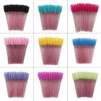 Makeup Brushes 50pcs Shiny Disposable Eyelash Applicator Wands Curler Brush Set Mascara Eyebrow Spoolers Comb Spoolies