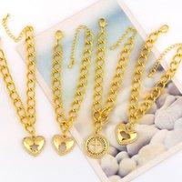 Charm Bracelets EYIKA Luxury Heart Hollow Palm Star Lips Bracelet For Women Cuban Link Chain Zircon Cross Pulseras Gold Female Jewelry
