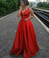 Red Satin Long Prom Dresses 2022 Pageant Formal Evening Plus Size Party Gowns