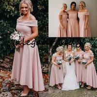 Blush Pink High Low Breidesmaid Abiti da damigella d'onore 2020 Off Spalla Elegante Caviglia Bella Beach Bohemian Maid of Honor Gown Guest Gown