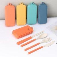 Conjunto de talheres de dobramento Faca removível garfo colher chopsticks Creative Wheat Palha Portátil Ferramenta Piquenique DHC7364