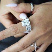 DIY Bantlar Yüzükler Kadınlar için Setleri S925 Ayar Gümüş Açacağı Simüle Elmas Yüzük Gelin Düğün Nişan Güzel Takı Bütün