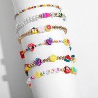 Braccialetti di fascino Boemia seme multicolore perline perline per le donne carino polimerico argilla perline di frutta amore lettera gioielli moda