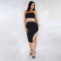 여성의 두 조각 바지 여름 포장 된 가슴 바느질 불규칙한 프레 린 다이아몬드 스커트 패션 섹시한 정장