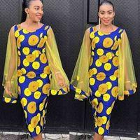 فساتين الأفريقية للنساء dashiki شبكة طويلة الأكمام البولكا نقطة ضيق طباعة أصفر أنيق السيدات ميدي أفريقيا الملابس