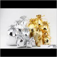 Пакеты, упаковочные дисплеи Drop Доставка 2021 4sizesizes Мода Золотая Золотая Освещенная марлевая Атласные Сумки Ювелирные Изделия Рождественские Подарочные Пакеты Сумка 5x7cm 7x9