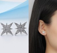 Fashion Gold Star Moon Shape Earrings Simple Ear Ring Ethnic Jewelry Gift Crystal Round Geometric For Women Stud