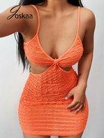 2021 vestido casual recortar espaguete cinta backless bodycon mini vestido mulheres mulheres sexy festa clube desgaste vestuário joskaa chique sólido