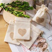 Fashion Gift Wrap Drawstring Burlap Bags Heart Printed Cotton Small Sack-pure White + Beige Each Ten Christmas GiftBags