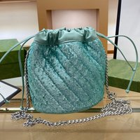 Sequins Bucket Bag Handbag Purse Bling Chain Crossbody Bags Fashion Letter Genuine Leather Patchwork Drawstring Pocket