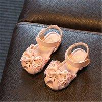 Xinfstreet Baby Girls Летняя обувь Дышащий лук Enfant Toddler PU кожаные сандалии кружева бантик принцесса детей