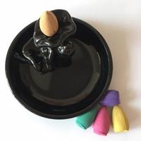 Fragrance Lamps 1Pc Ceramic Burner With 5Pc Backflow Incense Cones Stickers Holder Lotus Leaf Censer Home Decor N26 Black