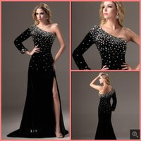 Vestido De Festa 2021 black velvet one shoulder evening dress long sleeve beading crystals with slit formal prom gowns floor length red carpet party dresses