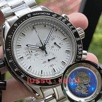 Yüksek kaliteli erkekler erkek lüksSeramik Çerçeve Snoopy Chronograph VK Quarz Hareketi Master İzleKumaş James Bond 007 Saatler Montre de Luxe Uzay Saatı