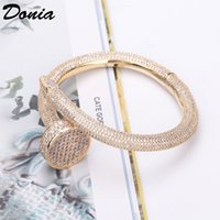 Donia Schmuck Party Europäische und amerikanische Mode Große Nagel Classic Micro Inlaid Zirkonia Armband Frauen Armband Alle Zirkon Armband BIR