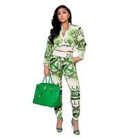 Faixas femininas S-2XL impressão digital verde casual comutando jaqueta de duas peças com calças moda outono inverno mulheres
