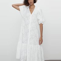 Elbiseler ZA Beyaz Ajur Işlemeli Kuşgözü Midi Kadın Kol Fırfır Hem Parti ES Kadın Pamuk Yaz Vestidos