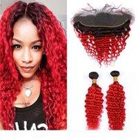 البرازيلي الشعر البشري أومبير أحمر موجة عميقة 2 حزم و أمامي 3 قطع الكثير # 1B الأحمر الجذور السوداء أومبير متموج 13x4 الرباط أمامي مع ينس
