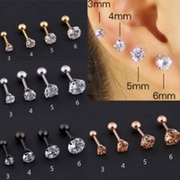 4 pcs set Medical Stainless steel Crystal Zircon Ear Studs Earrings For Women Men four Prong Tragus Cartilage Piercing Jewelry 3&4&5&6