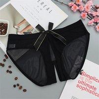 Siyah Crotchless Ilmek Külot Seksi Kadın İç Giyim Şeffaf Düşük Katlı Açık Kasık Külot Pamuk Thong Sissy Kadınlar