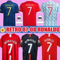 Ronaldo Rooney Saha Retro Manchester 2007 2008 2008ビンテージサッカージャージーサッカーシャツ07 08ユナイテッドクラシックナニマンUTD Camiseta Long Sleeve 21 22ホーム離れた3番目のキット