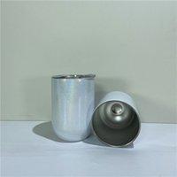 12Oz Sublimation Gerade Glanz Weinglas Tumbler Doppel Wand Isolierte Tassen Wärmeübertragung Edelstahl Wasser Flaschen Kaffeetassen A12