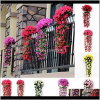 Decorative Wreaths Festive Supplies Drop Delivery 2021 Artificial Flower Wall Hanging Simulation Violet Orchid Fake Silk Vine Flowers Wedding