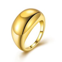 Großer glänzender geometrischer einfacher goldener Ring-Hochzeits-Ring für Frauen