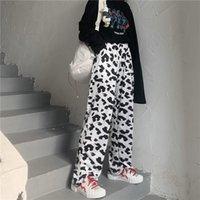 Women's Pants & Capris Trouser Suits Harajuku Plaid For Women Y2k 2021 Cows Sweatpants Woman Harem Autumn Ladies Capri Oversize