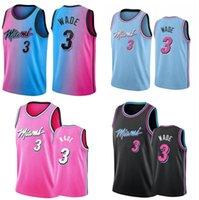 Männer S-6XL Basketball Jersey 3 Dwayne Wade Rot Weiß Schwarz Blau Rosa Gelbe ärmellose Stadt Trikots