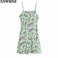 Xnwmnz وومي الأزياء يترك زهرة طباعة حبال البسيطة اللباس الإناث أنيقة عارية الذراعين زر أعلى السباغيتي حزام ضئيلة vestidos سيدة 210510