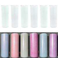 UV Renk Değiştirme Tumbler 20 oz Süblimasyon Tumbler Güneş Işık Algılama Paslanmaz Çelik Düz Kupalar Kapak ve Straws