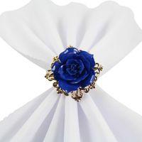 Schöne Rose Blume Serviette Ringe Gold Farbe Reifen Romantisch Nizza Suchen Weiteding Party Tischdekorationen Liefert GWD7108
